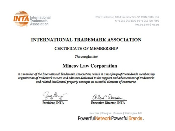 Mincov Law Corporation is now a proud member of International Trademark Association (INTA)
